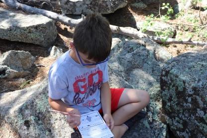 Noah working on his Junior Ranger badge